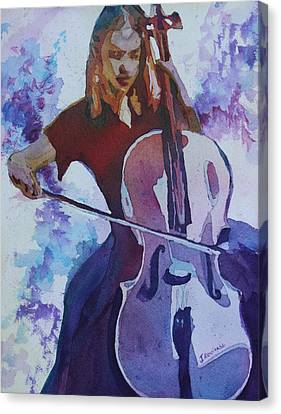 Singing The Cello Canvas Print by Jenny Armitage