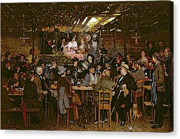 Singing To A Captive Crowd Oil On Canvas Canvas Print by Otto Piltz