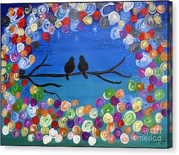 Singing To The Stars Tree Bird Art Painting Print Canvas Print