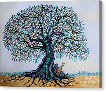 Singing Under The Blues Tree Canvas Print