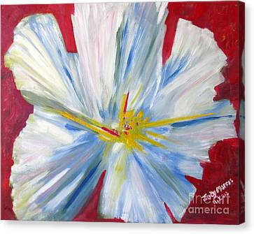 Single White Flower Canvas Print by Judy Morris