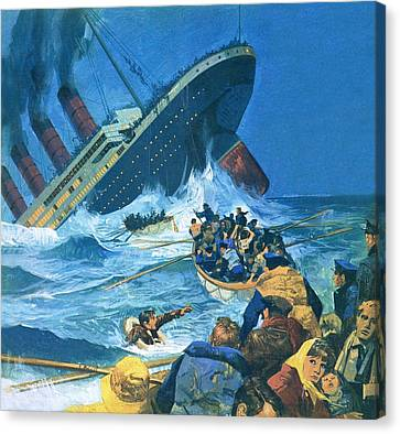 Sinking Of The Titanic Canvas Print by English School
