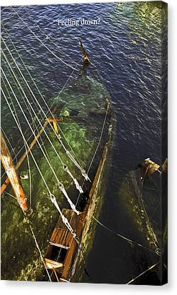Sinking Sailboat Canvas Print by Sally Weigand