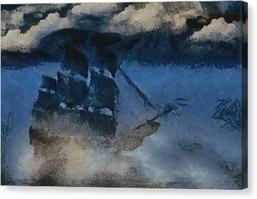 Sinking Sailer Canvas Print by Ayse and Deniz