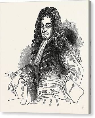 Sir Christopher Wren, London, England, Engraving 19th Canvas Print by Litz Collection