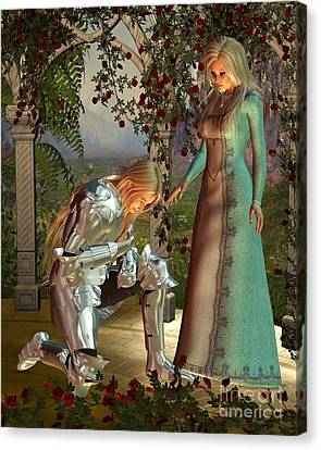Sir Launcelot And Queen Guinevere Canvas Print by Fairy Fantasies