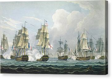 Sir Richard Strachans Action After The Battle Of Trafalgar Canvas Print