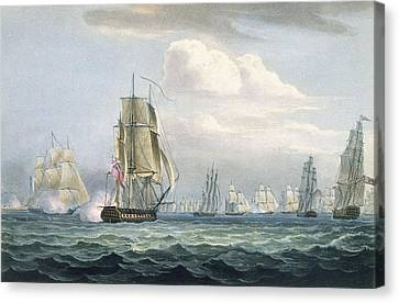 Sir Sidney Smiths Squadron Engaging Canvas Print by Thomas Whitcombe