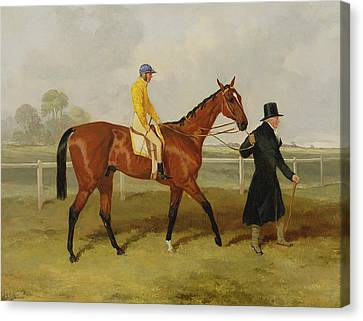 Sir Tatton Sykes Leading In The Horse Sir Tatton Sykes With William Scott Up Canvas Print by Harry Hall