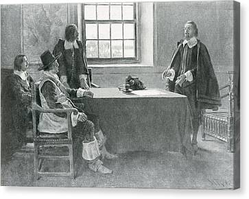 Brandywine Canvas Print - Sir William Berkeley Surrendering To The Commissioners Of The Commonwealth, Illustration From In by Howard Pyle