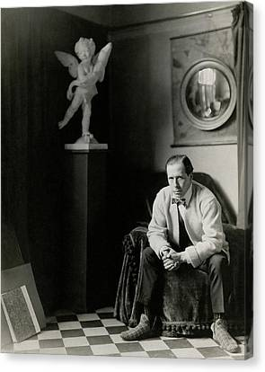 Sir William Orpen With A Cupid Statue Canvas Print