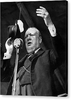 Sir Winston Churchill Public Speaker Canvas Print by Retro Images Archive