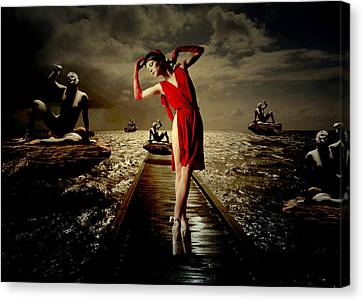 Canvas Print featuring the digital art Siren by Galen Valle