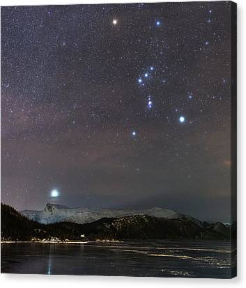 Snowy Night Night Canvas Print - Sirius Rising With Orion by Tommy Eliassen