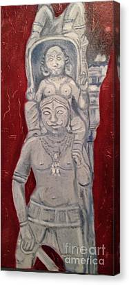 Canvas Print featuring the painting Sirpam- Sculpture Painting by Brindha Naveen