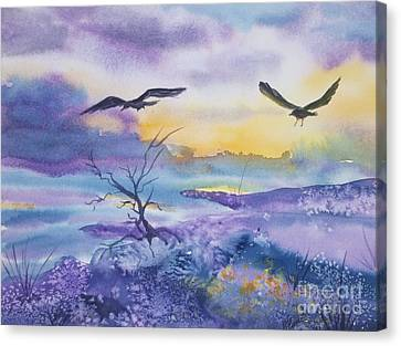 Canvas Print featuring the painting Sister Ravens by Ellen Levinson
