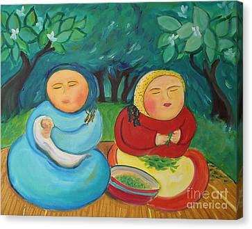 Sisters And Green Beans Canvas Print by Teresa Hutto