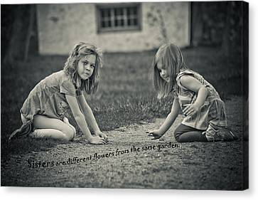 Kids Card Canvas Print - Sisters Are Different Flowers by Trish Tritz