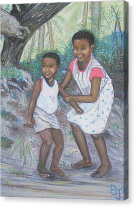 Sisters From The Fijian Islands Canvas Print