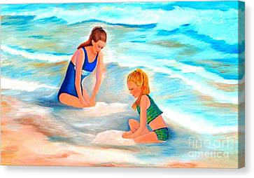 Sisters In The Sand Canvas Print by Shelia Kempf