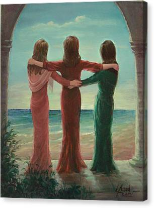 Canvas Print featuring the painting Sisters by Laila Awad Jamaleldin