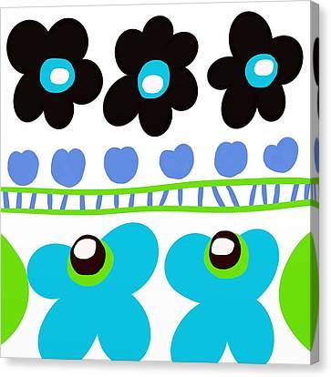 Fuschia Canvas Print - Sisters Mod Flowers by Marlene Kaltschmitt