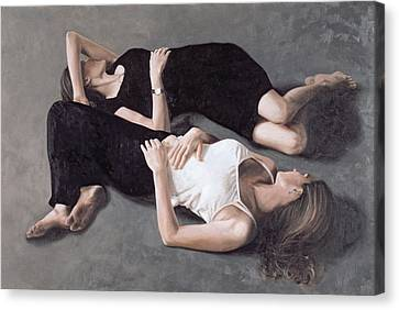 Sisters Oil On Canvas Board Canvas Print
