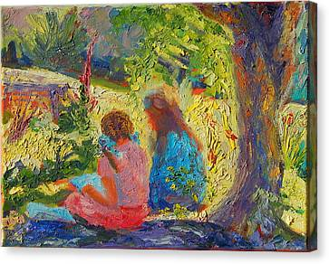 Sisters Reading Under Oak Tree Canvas Print by Thomas Bertram POOLE