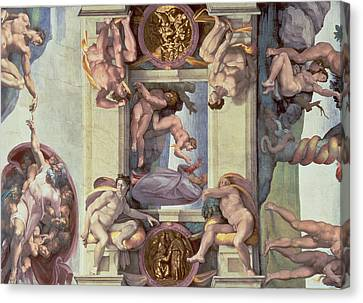 Sistine Chapel Ceiling 1508-12 The Creation Of Eve, 1510 Fresco Post Restoration Canvas Print by Michelangelo Buonarroti