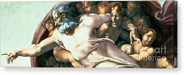 Religious Canvas Print - Sistine Chapel Ceiling Creation Of Adam by Michelangelo Buonarroti