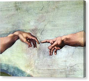 Fingertips Canvas Print - Sistine Chapel by SPL and Photo Researchers