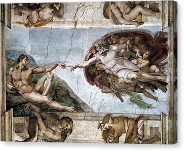 Sistine Chapel. The Creation Of Adam Canvas Print by Everett