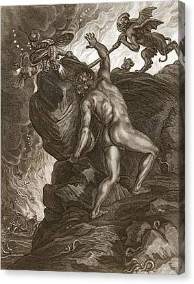 Sisyphus Pushing His Stone Canvas Print