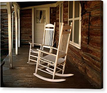 Old Cabins Canvas Print - Sit A Spell by Leland D Howard