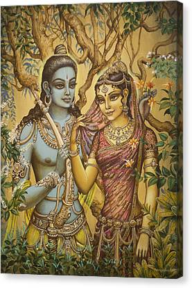 Sita And Ram Canvas Print by Vrindavan Das