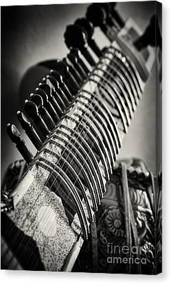 Sitar And Tabla Monochrome Canvas Print by Tim Gainey