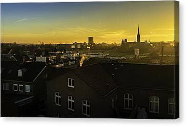 Sittard City Sunrise - View From The Roof Canvas Print by Libor Bednarik