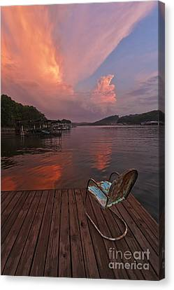 Sittin' On The Dock Canvas Print by Dennis Hedberg