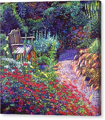 Sitting Amoung The Flowers Canvas Print by David Lloyd Glover