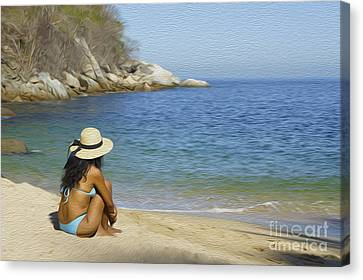 Sitting At The Beach Canvas Print by Aged Pixel