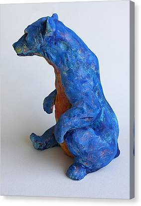 Sitting Bear-sculpture Canvas Print by Derrick Higgins