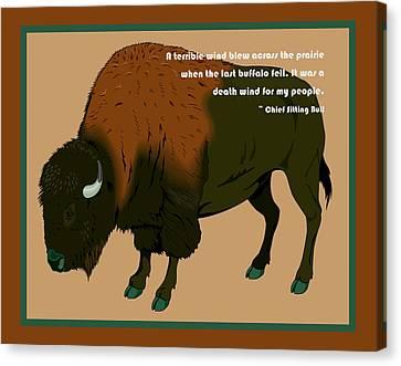 Sitting Bull Buffalo Canvas Print by Digital Creation