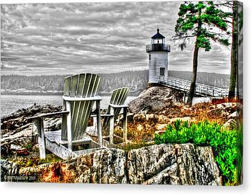 Rocky Maine Coast Canvas Print - Sitting By The Light by Murray Dellow