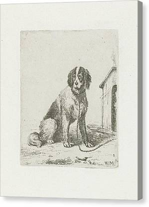 Sitting Dog Chained To A Doghouse, Christiaan Wilhelmus Canvas Print by Christiaan Wilhelmus Moorrees