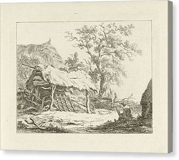 City Scape Canvas Print - Sitting Figure In A Barn, Carel Lodewijk Hansen by Carel Lodewijk Hansen