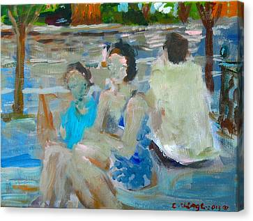 Sitting Figures  Canvas Print by Edward Ching
