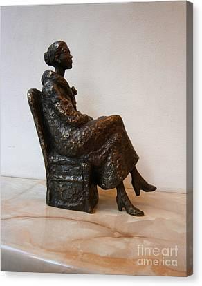 Sitting Girl Canvas Print by Nikola Litchkov