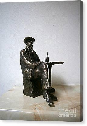Sitting Man With A Bottle Of Wine Canvas Print by Nikola Litchkov