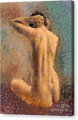 Sitting Nude 3 Canvas Print by Dragica  Micki Fortuna