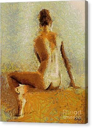 Sitting Nude II Canvas Print by Dragica  Micki Fortuna